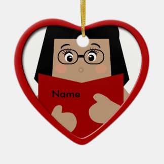 Ornement 1 de coeur de Noël de lecture de fille