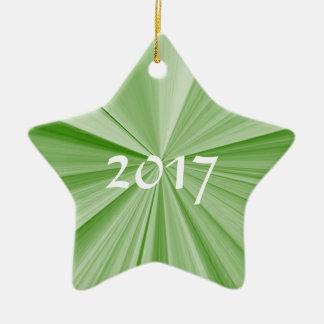 Ornement 2017 de souvenir de vert d'étoile de Noël