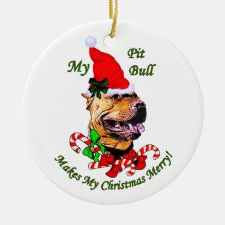 Ornement américain de Noël de Terrier de pitbull