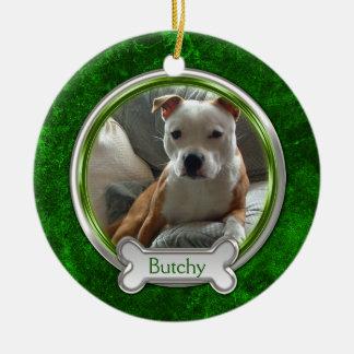 Ornement argenté vert de Noël de photo d'animal