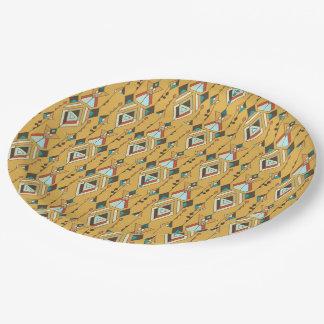 Ornement aztèque tribal ethnique vintage assiettes en papier