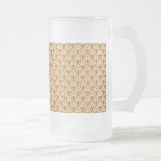 Ornement aztèque tribal ethnique vintage frosted glass beer mug