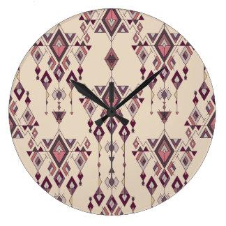 Ornement aztèque tribal ethnique vintage grande horloge ronde