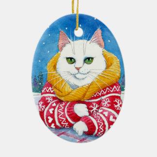 Ornement blanc de chat de Noël