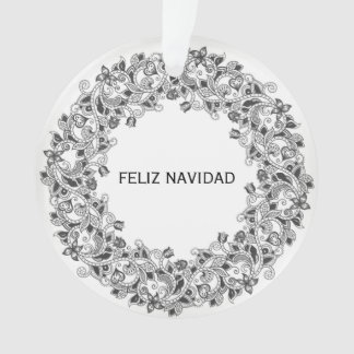 Ornement blanc de neige de Feliz Navidad avec la