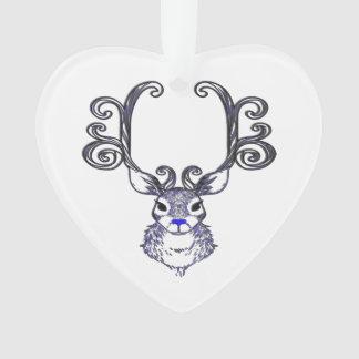 Ornement bleu d'arbre de cerfs communs de renne de