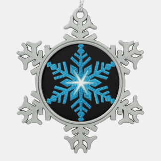 Ornement bleu de flocon de neige d'étain de flocon
