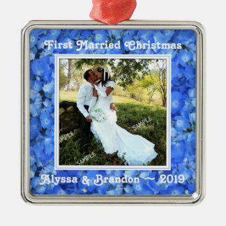 Ornement bleu de modèle photo de carré d'hortensia