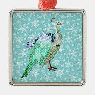 Ornement bleu de Noël de paon
