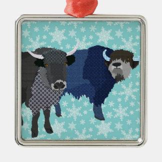 Ornement bleu de Noël de yaks