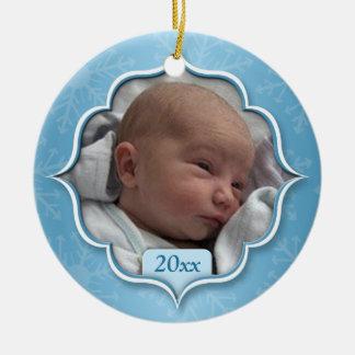 Ornement bleu de photo de premier Noël du bébé