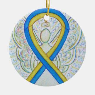 Ornement bleu et jaune d'ange de ruban de