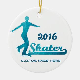 Ornement bleu fait sur commande 2016 de patinage