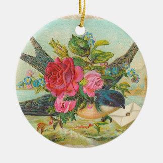 Ornement bleu victorien de Noël d'oiseau