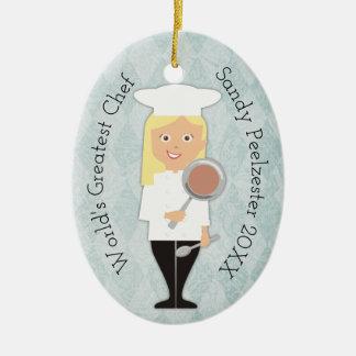 Ornement blond de Noël de chef de fille de diplômé