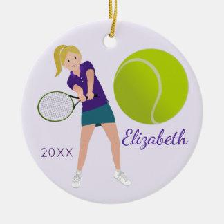 Ornement blond de souvenir de joueur de tennis