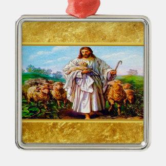 Ornement Carré Argenté 10:7 de John - 21 je suis le bon berger