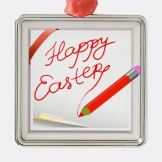 Ornement Carré Argenté 150Happy Easter_rasterized