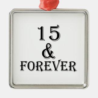 Ornement Carré Argenté 15 et pour toujours conceptions d'anniversaire