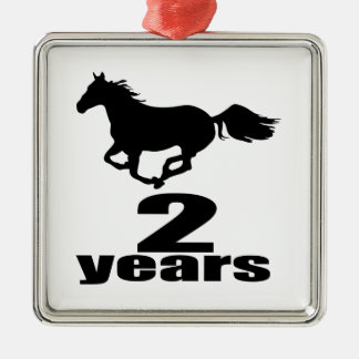 Ornement Carré Argenté 2 ans de conceptions d'anniversaire