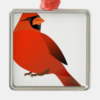 Ornement Carré Argenté #3 cardinal