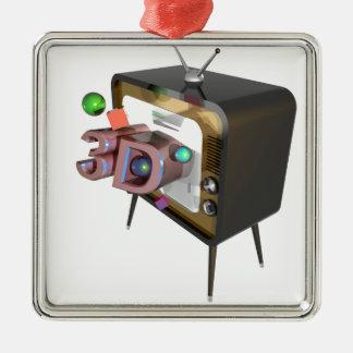 ORNEMENT CARRÉ ARGENTÉ 3D TV