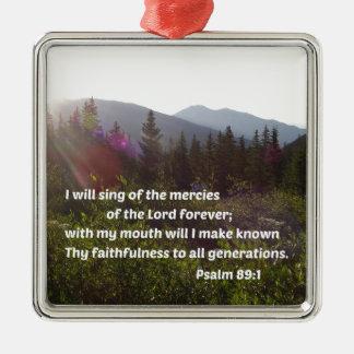 Ornement Carré Argenté 89:1 de psaume je chanterai des pitiés du seigneur