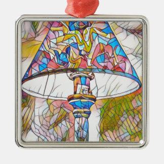 Ornement Carré Argenté Abat-jour artistique frais en verre souillé