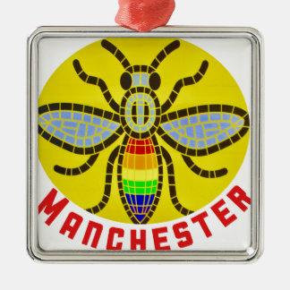 Ornement Carré Argenté Abeille de Manchester