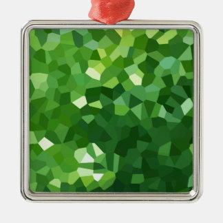 Ornement Carré Argenté Abrégé sur vert mosaïque en verre souillé de forme