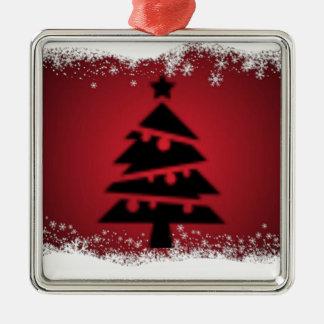Ornement Carré Argenté Acclamation de Noël