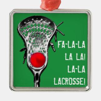 Ornement Carré Argenté acclamation de Noël de lacrosse