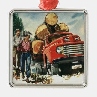 Ornement Carré Argenté Affaires vintages, camion de notation avec des