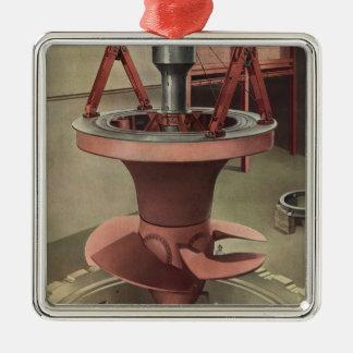 Ornement Carré Argenté Affaires vintages, générateur avec la turbine