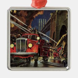Ornement Carré Argenté Affaires vintages, sapeurs-pompiers de pompiers de
