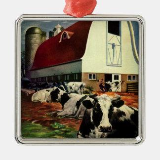 Ornement Carré Argenté Affaires vintages, vaches à lait du Holstein à