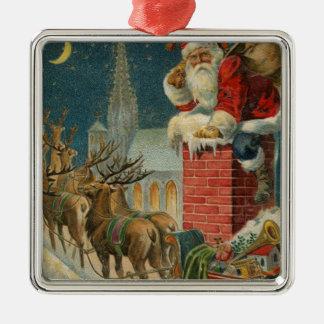 Ornement Carré Argenté Affiche 1906 clous de Père Noël de cru original