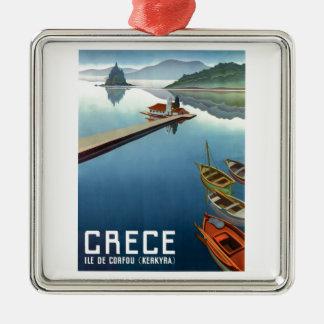 Ornement Carré Argenté Affiche 1949 de voyage de Corfou Grèce