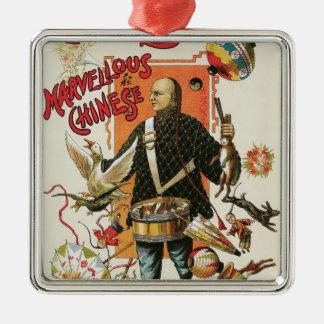 Ornement Carré Argenté Affiche magique vintage, magicien Chung Ling Soo