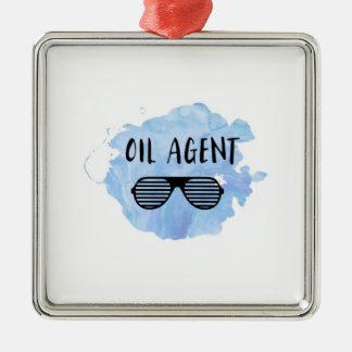 Ornement Carré Argenté Agent d'huile