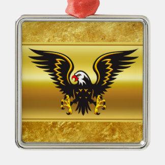 Ornement Carré Argenté Aigle de noir et d'or de présentation horizontale