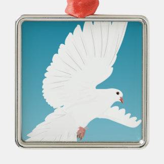 Ornement Carré Argenté Aile d'animal de nature de plume d'oiseaux