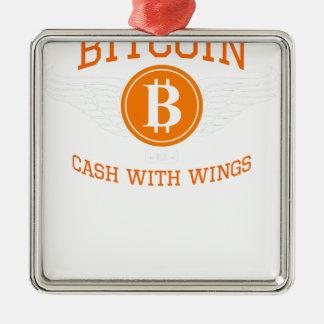 Ornement Carré Argenté Ailes de Bitcoin