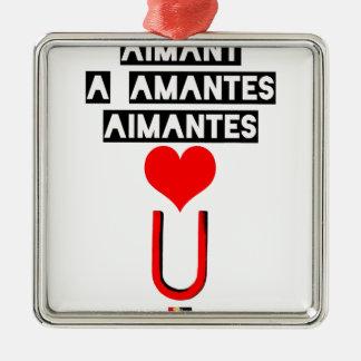 Ornement Carré Argenté Aimant à amantes aimantes - Jeux de Mots