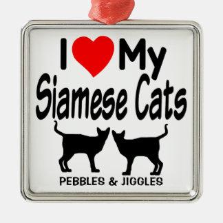Ornement Carré Argenté Aimez mes deux chats siamois