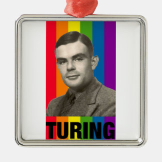 Ornement Carré Argenté Alan Turing