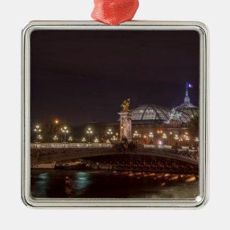 Ornement Carré Argenté Alexander bridge and grand palais at night Paris