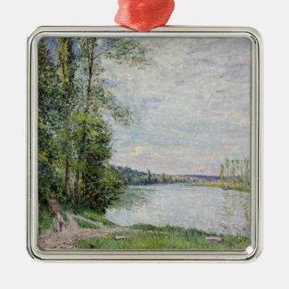 Ornement Carré Argenté Alfred Sisley   la route de rive de Veneux
