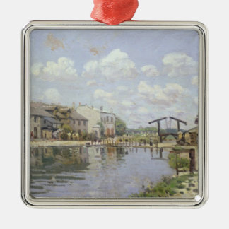 Ornement Carré Argenté Alfred Sisley   le canal St Martin, Paris