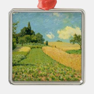 Ornement Carré Argenté Alfred Sisley   le champ de maïs